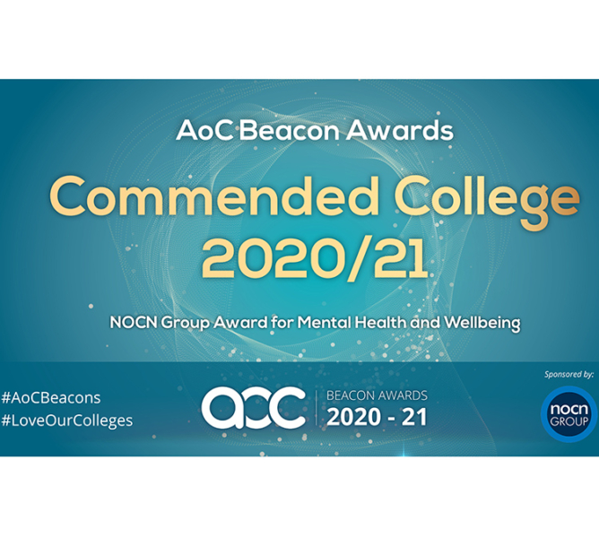 AoC Beacon Awards New City College won Commended College 2020/2021