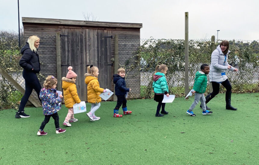 Nursery children at New City College walk and clap for Captain Sir Tom Moore