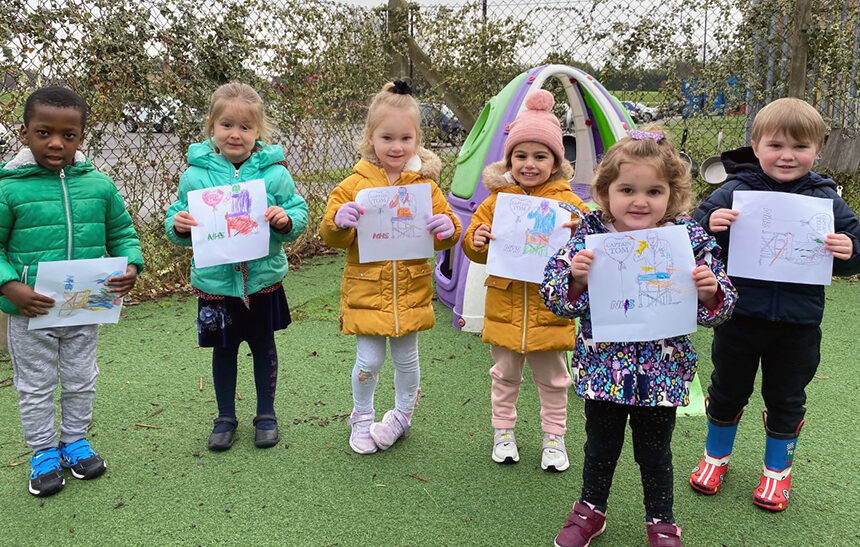 Nursery children at New City College walk and clap for Sir Tom Moore