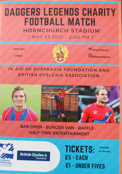 Daggers Legends football match at Hornchurch Stadium organised by New City College student Charlie Ayris