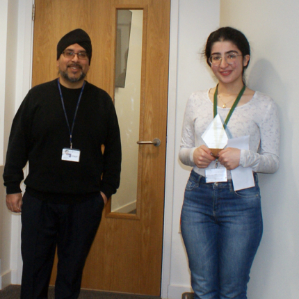 """Nicky Ahadi, who left college last year, came back to receive a trophy for achieving the highest score in the year for A Level Chemistry. Nicky gained 3 A*s in Chemistry, Biology and Maths despite only moving to the UK from Iran just before she started at Havering Sixth Form. She will be going to study Medicine at the University of Exeter Medical School in September, having taken a gap year where she worked as a science and maths tutor for a local school. Nicky, who was presented with the award by Medics Enrichment tutor Gursewa Harrad, below, said: """"I couldn't have achieved what I have without the help and support of the college - and particularly the Medics group."""""""